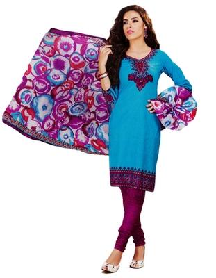 Salwar Studio Sky Blue & Pink Cotton Printed unstitched churidar kameez with dupatta MCM-4434