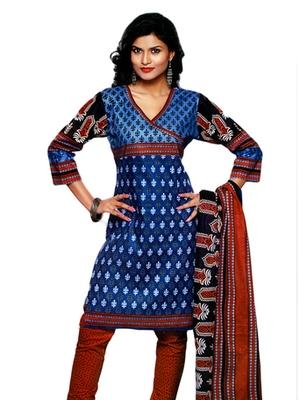 Salwar Studio Blue & Orange Cotton Printed unstitched churidar kameez with dupatta SD-565