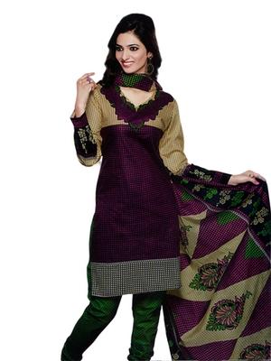 Salwar Studio Magenta & Fawn Cotton Printed unstitched churidar kameez with dupatta SD-575