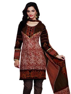 Salwar Studio Brown & Black Cotton Printed unstitched churidar kameez with dupatta SD-590