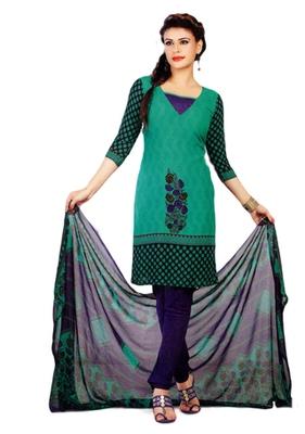 Salwar Studio Sea Green & Blue Synthetic Printed unstitched churidar kameez with dupatta Shri-2005