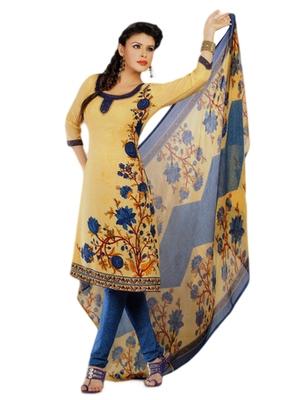 Salwar Studio Fawn & Blue Synthetic Printed unstitched churidar kameez with dupatta Shri-2024
