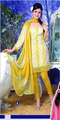 Spun Cotton Lacer Salwar Kameez Churidar Dress Meterial SC1057A