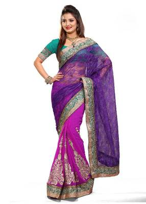 ISHIN Net Brasso & Marble Chiffon  Pink & Purple Saree MR-2125-B