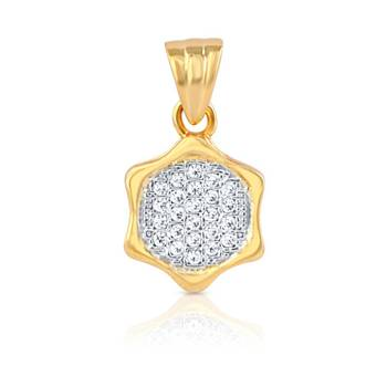Mahi Gold Plated  Brilliant Cluster Pendant  with CZ Stones