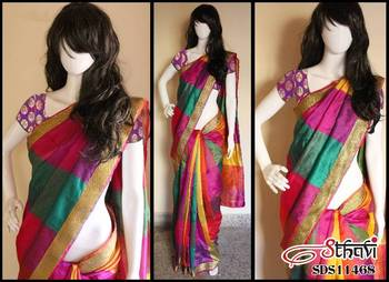 Multi-coloured Benaras CottonSilk