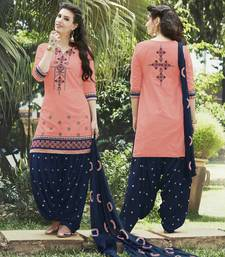 Buy Orange cotton embroidered semi stitiched salwar with dupatta Woman online