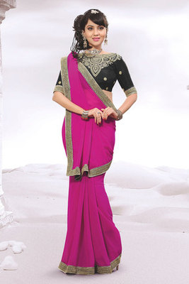 Attractive Pink Colour Chiffon Saree Showing Patch-patti Work