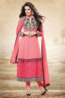 Charming Peach Georgette Fancy Suit Showing Zari Resham Embroidery Work