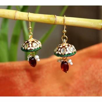 Kundan encrusted jhumki earrings in Red
