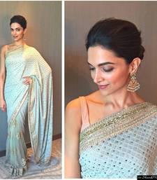 Buy Sky Blue embroidered georgette saree With Blouse deepika-padukone-saree online