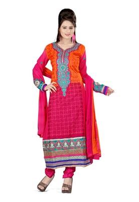 Fabdeal Magenta & Orange Colored Pure Georgette Embroidered Semi-Stitched Salwar Kameez