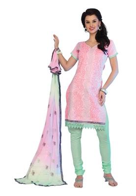 Fabdeal Light Pink Colored Cotton Embroidered Un-Stitched Salwar Kameez