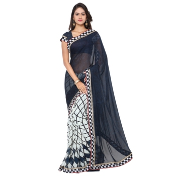 blue printed pure georgette saree With Blouse