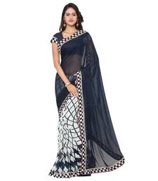 Buy blue printed pure georgette saree With Blouse fashion-deal online