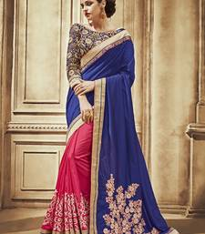 Buy Blue and Pink embroidered satin saree With Blouse party-wear-saree online