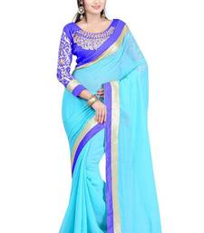 Buy turquoise embroidered chiffon saree With Blouse chiffon-saree online