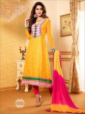 Dazzling Yellow Suit with Dupatta-TBSUPRINC3003