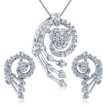 Silver Plated American Diamond Pendant