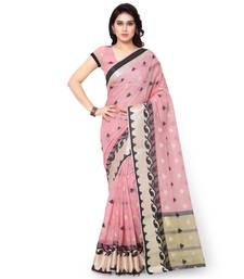 Buy pink woven chanderi_silk saree With Blouse chanderi-saree online
