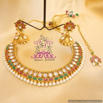 Multicolour Polki & Zircon Necklace