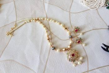 Uncut  Polki  Pearl Necklace