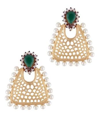 Pearly Mesh Basket Earrings