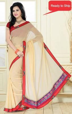Beige Color contrast border graceful faux Georgette saree with blouse