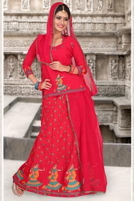 Red Coloured Cotton Rajasthani Poshak
