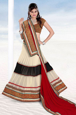 Cream and Black Embroidered Lehenga Choli