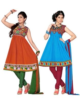 Multi Colour American Crepe Dress Material Combo Pack Of 2
