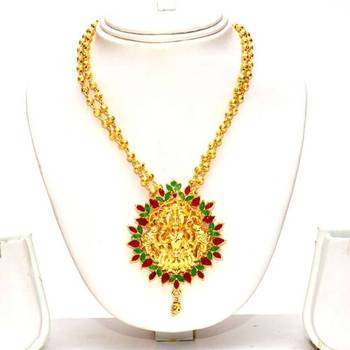 Anvi's lakshmi (temple jewellery) pendent with double lined gold toned gundla mala