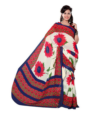 White Colored Bemberg Georgette Printed Saree