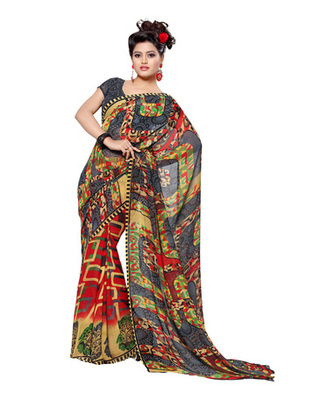 Grey Colored Faux Georgette Printed Saree
