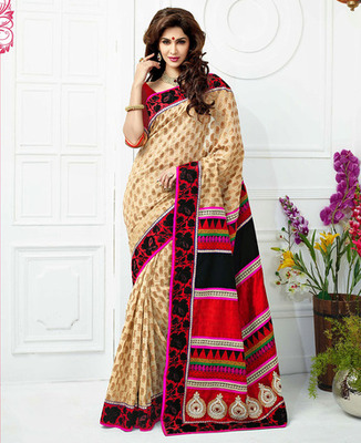 Cream & Red Color with Embroidery, Lace & Hand work Saree
