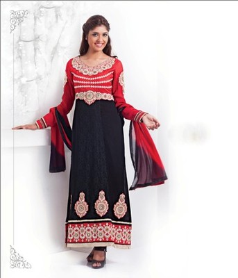 Black & Red Color with Embrodery & Stone Work Dress Material