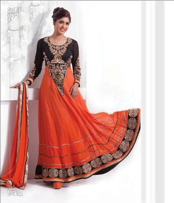 Orange & Black Color with Embrodery & Stone Work Dress Material