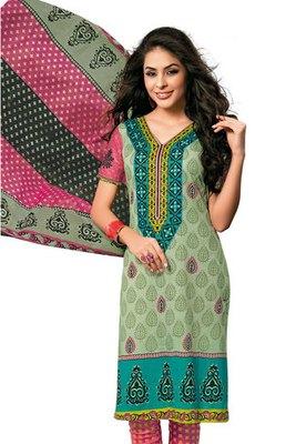 A Green Colour Cotton Printed Salwar Kameez
