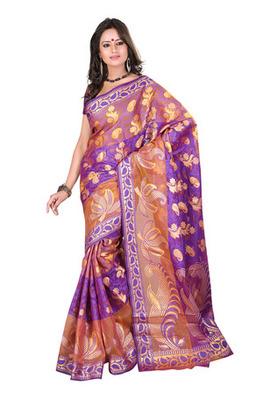 Fabdeal Light Orange Colored Banarasi Cotton Printed Saree