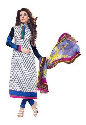 CottonBazaar White Colored Pure Cotton Semi-Stitched Salwar Kameez