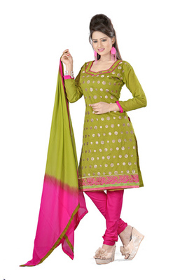Fabdeal Olive Green Colored Cora Silk Un-Stitched Salwar Kameez