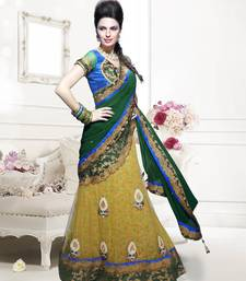 Buy green embroidered net saree With Blouse lehenga-saree online