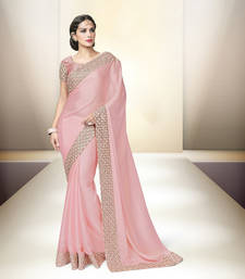 Buy pink embroidered satin saree With Blouse party-wear-saree online