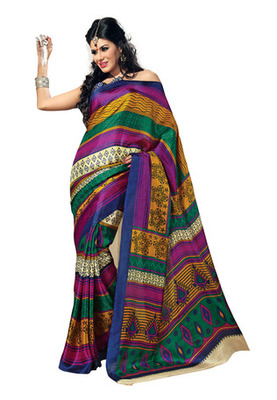 Fabdeal Multi Colored Bhagalpuri Silk Printed Saree