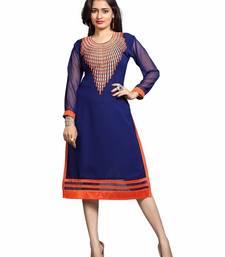 Buy New Designer Blue Orange Embroider Work kurti  kurtas-and-kurti online