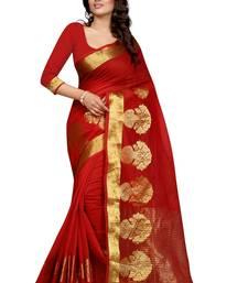 Buy red embroidered kanjivaram silk saree With Blouse ethnic-saree online