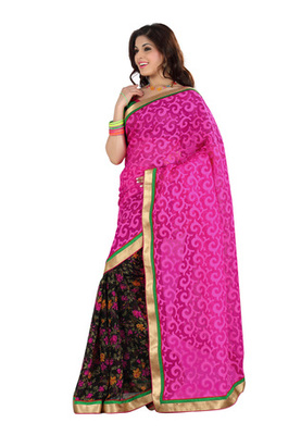Fabdeal Pink Colored Cotton Brasso Printed Saree