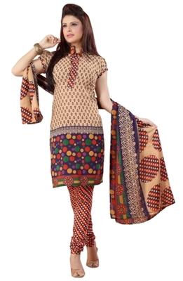 Triveni Charming Beige Colored Casual Wear Indian Traditional Salwar Kameez