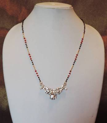 Diamante Pendant Red Black Gold Chain Mangalsutra