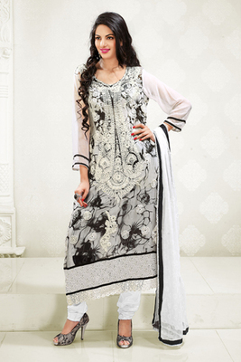 Beautiful Black and White Chiffon and Santoon Printed Fancy Suit